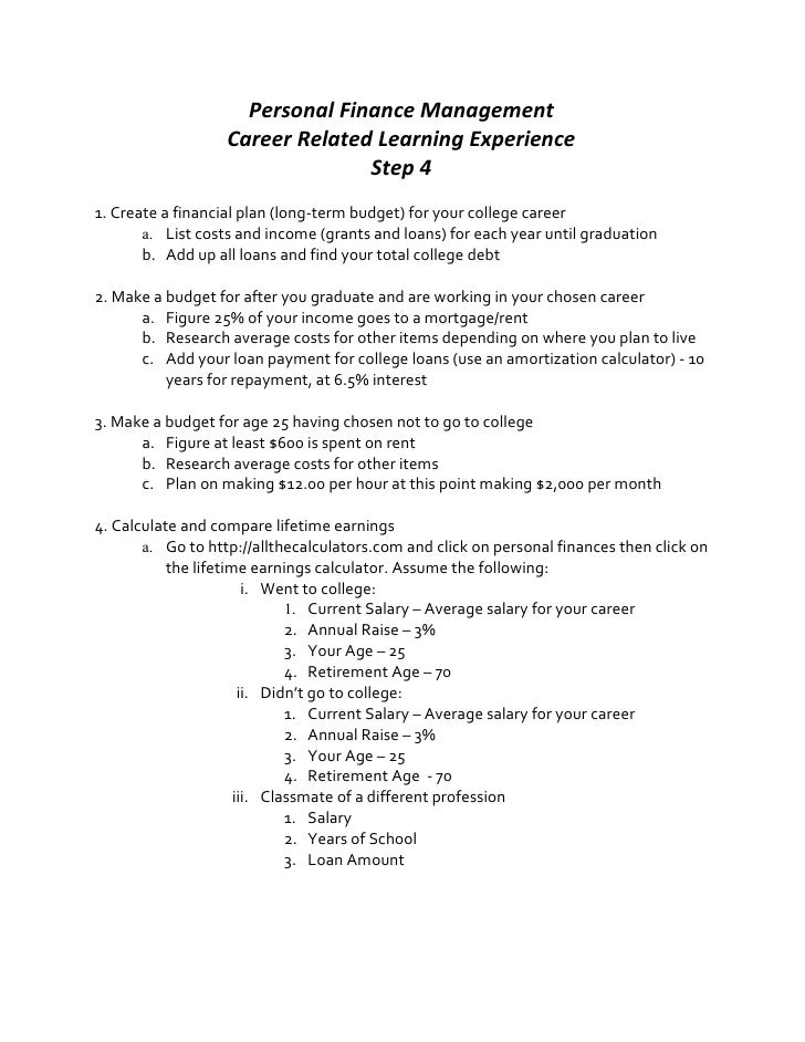 Personal Finance Management                   Career Related Learning Experience                                 Step 41. ...