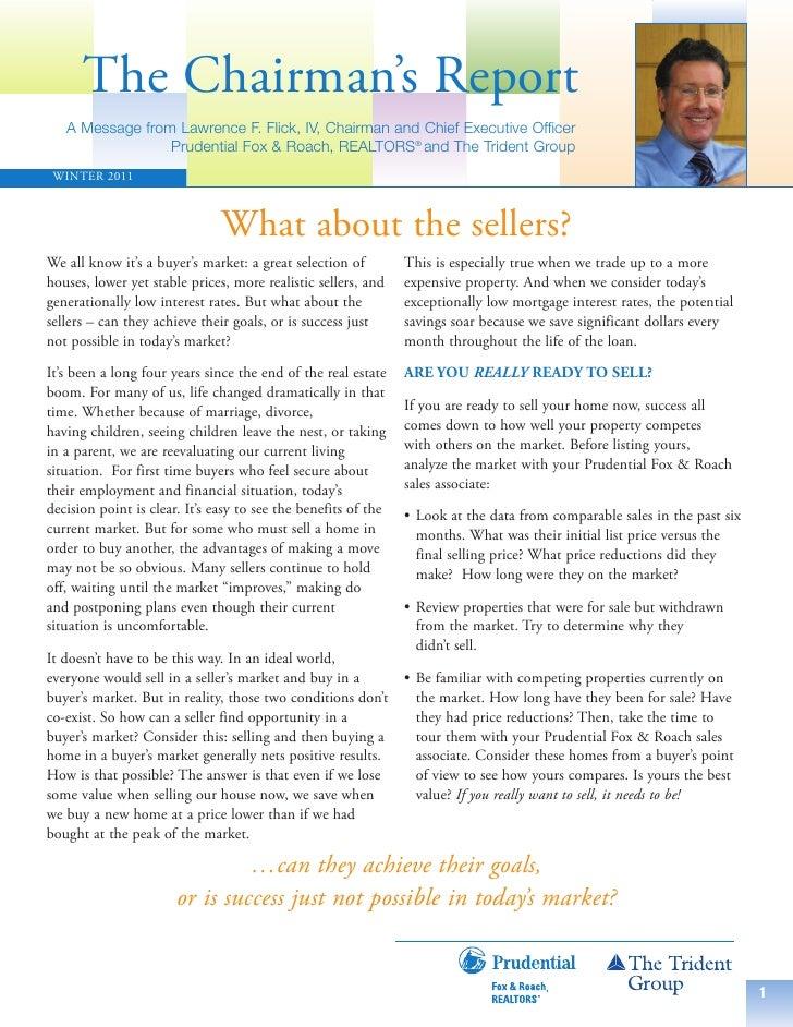 Winter 2011 PFR Chairman's Report