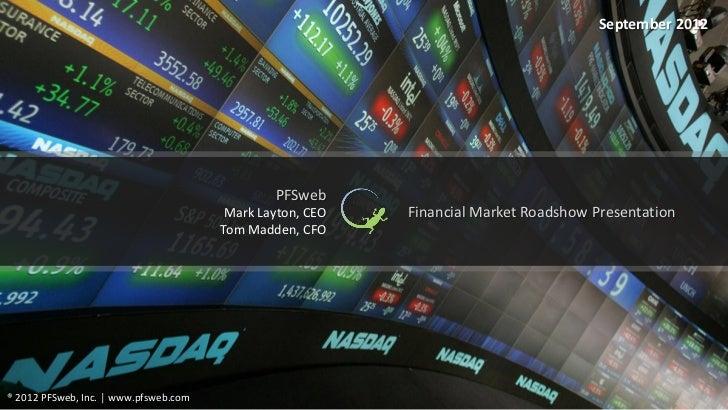 September 2012                                               PFSweb                                        Mark Layton, CE...