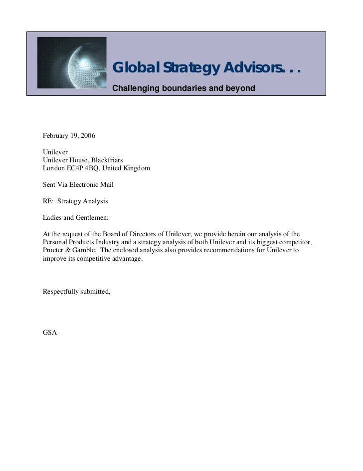 Global Strategy Advisors. . .                          Challenging boundaries and beyondFebruary 19, 2006UnileverUnilever ...