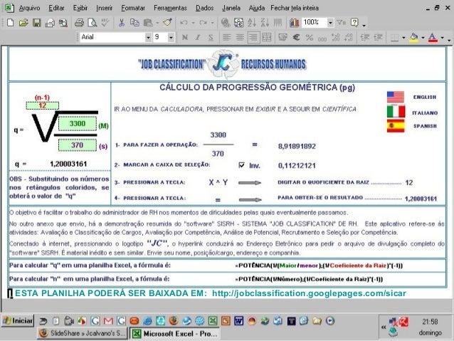 ESTA PLANILHA PODERÁ SER BAIXADA EM: http://jobclassification.googlepages.com/sicar