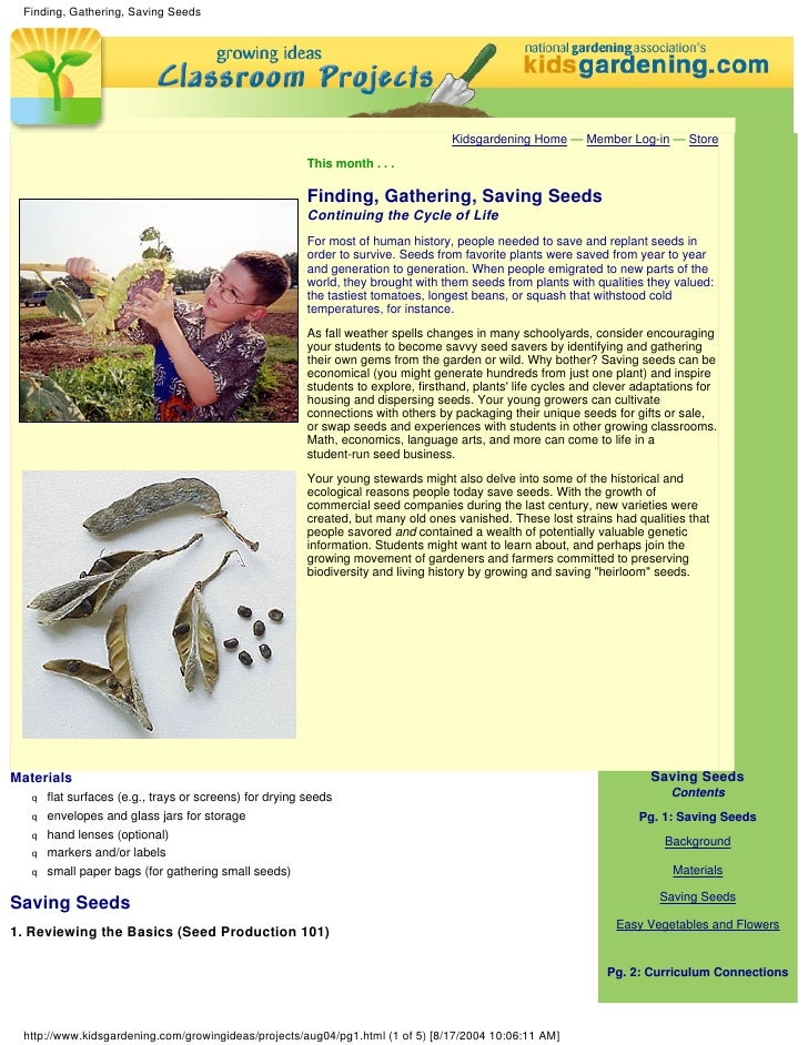 Finding, Gathering, Saving Seeds - School Classroom Project