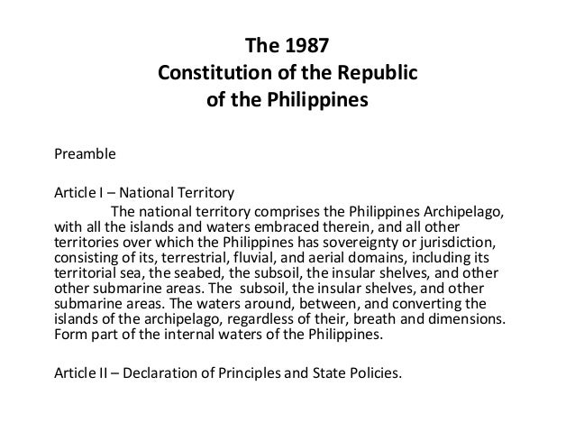 "the 1987 constitution of the republic The 1987 constitution of the republic of the philippines -preamble 1 preamble latin word ""preambulare"" foreword introductory statement 2 we, the sovereign filipino people, imploring the aid of almighty god, in order to build a just and humane society, and establish a government that shall embody our ideals and aspirations, promote the."