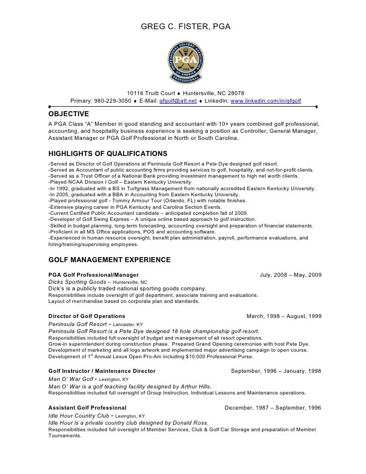 Golf Professional Resume Objective