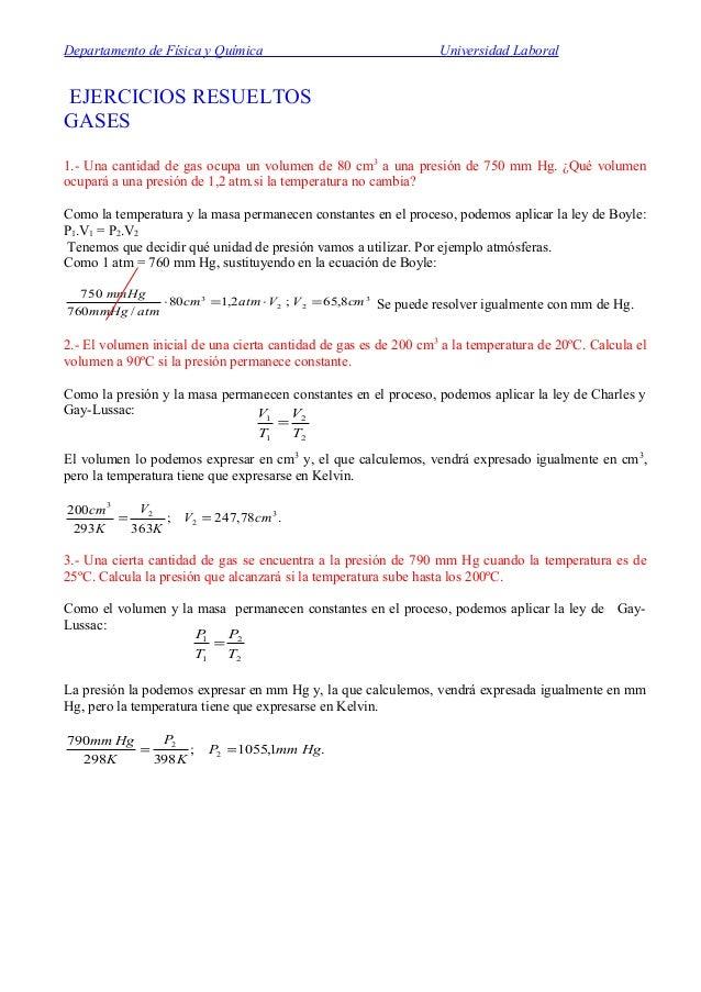 Departamento de Física y Química Universidad Laboral EJERCICIOS RESUELTOS GASES 1.- Una cantidad de gas ocupa un volumen d...
