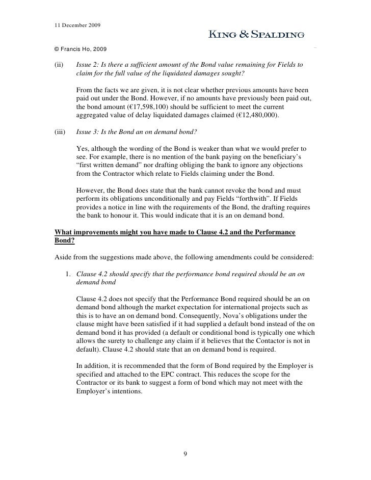 performance bond template - performance bond workshop exercise claim performance