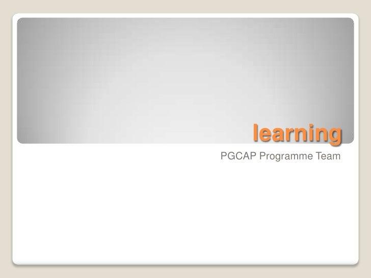 learningPGCAP Programme Team