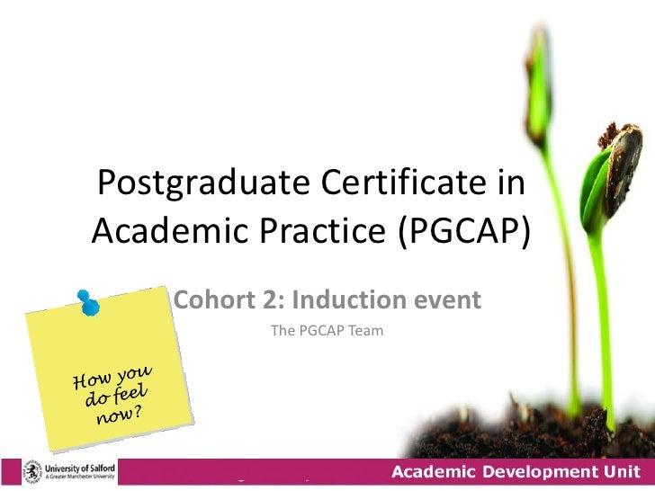 Postgraduate Certificate in Academic Practice (PGCAP)      Cohort 2: Induction event             The PGCAP Team