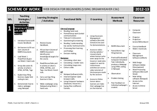 SCHEME OF WORK:                                 WEB DESIGN FOR BEGINNERS (USING DREAMWEAVER CS6)                          ...