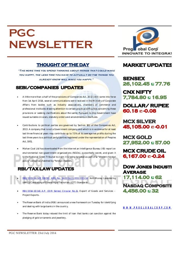 Pgc newsletter 23 rd july 2014 (updated)