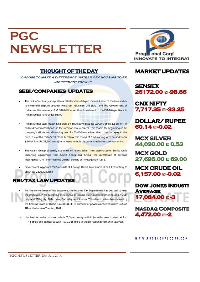 Pgc newsletter 25 th july, 2014