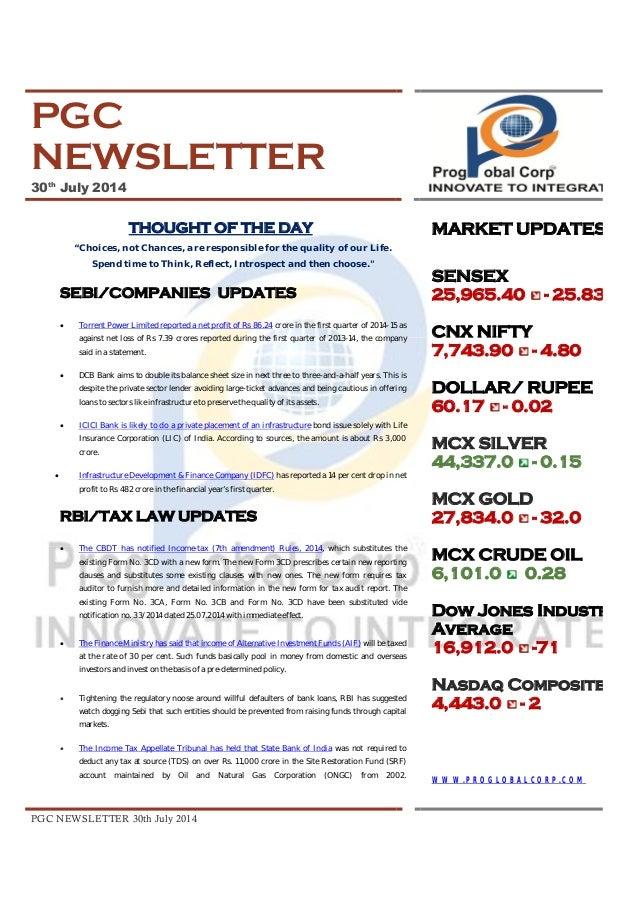 Pgc newsletter 30 th july, 2014