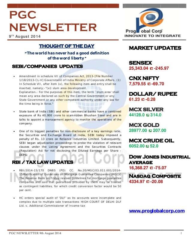 PGC Newsletter 9th August 2014