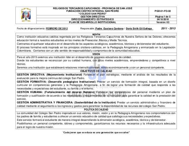 RELIGIOSOS TERCIARIOS CAPUCHINOS - PROVINCIA DE SAN JOSÉ                                        FUNDACIÓN CENTRO INTEGRAL ...