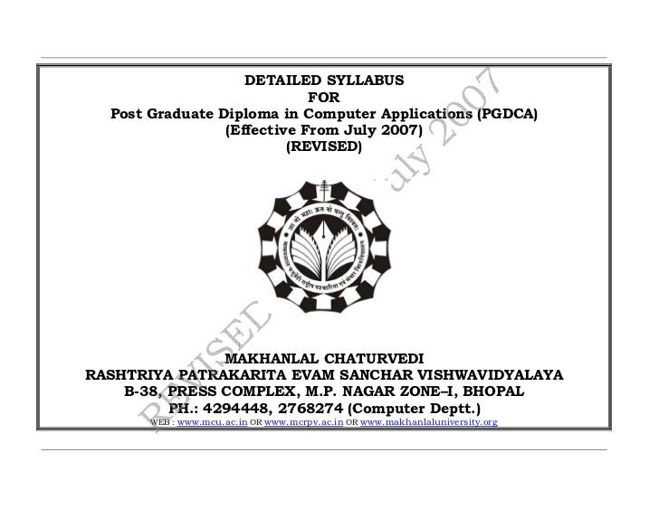 DETAILED SYLLABUS                             FOR  Post Graduate Diploma in Computer Applications (PGDCA)                 ...