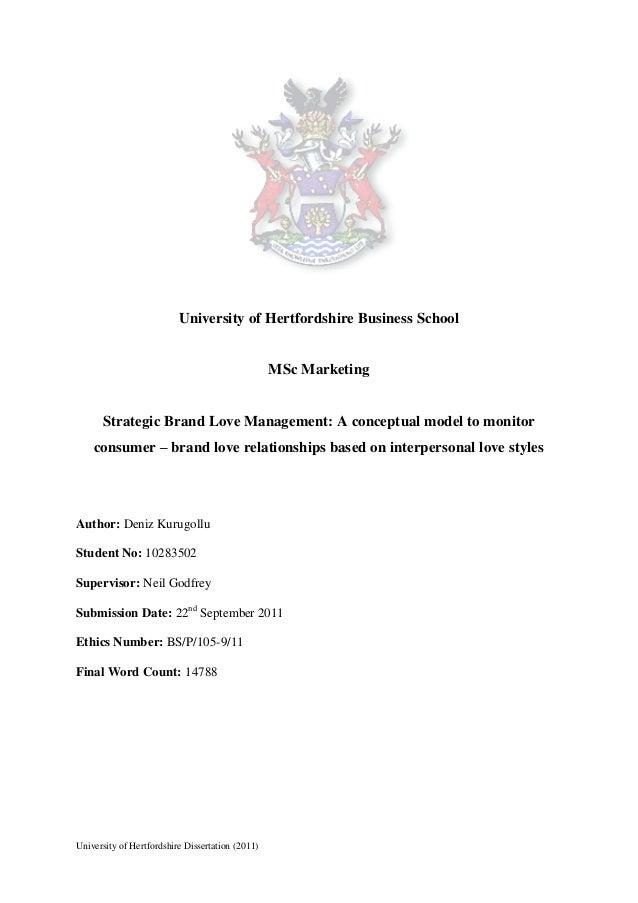 University of Hertfordshire Business School                                                  MSc Marketing      Strategic ...