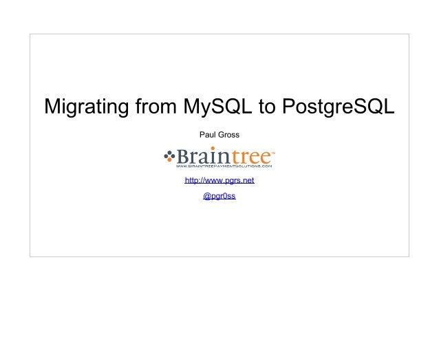 Migrating from MySQL to PostgreSQL