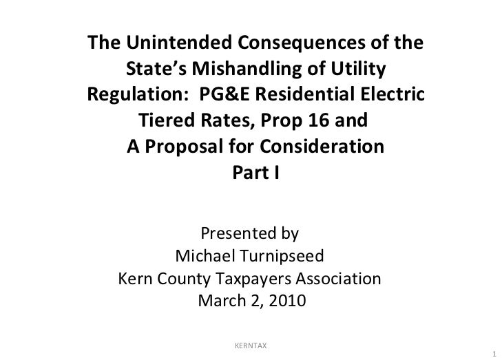 Presented by Michael Turnipseed Kern County Taxpayers Association March 2, 2010 The Unintended Consequences of the State's...