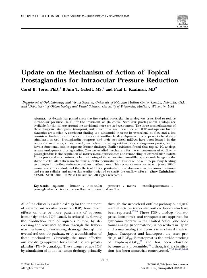 SURVEY OF OPHTHALMOLOGY             VOLUME 53  SUPPLEMENT 1  NOVEMBER 2008Update on the Mechanism of Action of TopicalPros...