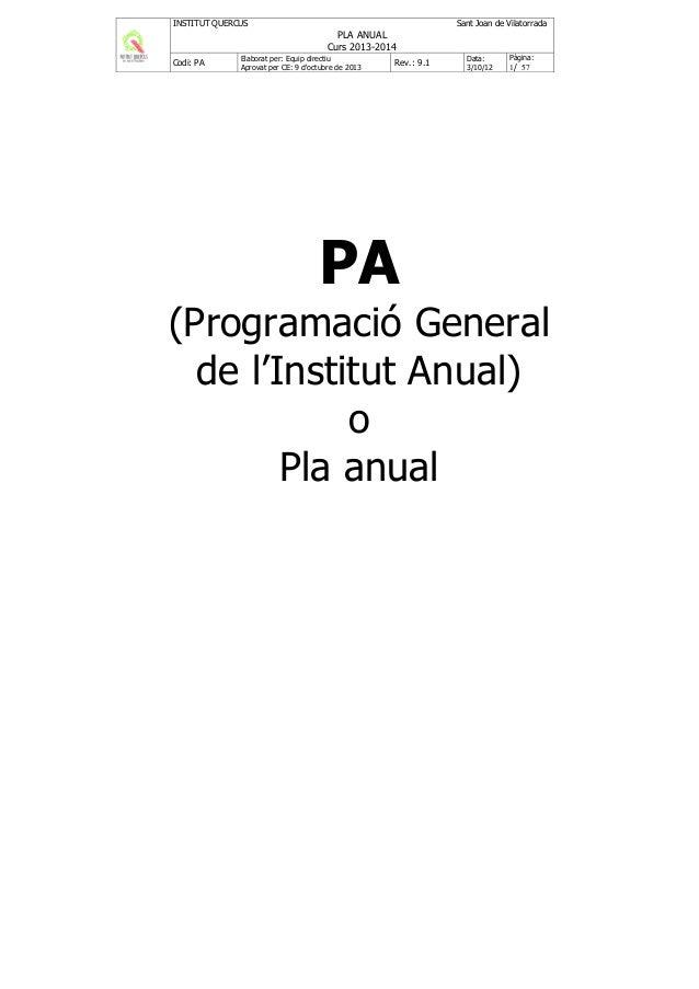 INSTITUT QUERCUS  Sant Joan de Vilatorrada  PLA ANUAL Curs 2013-2014 Codi: PA  Elaborat per: Equip directiu Aprovat per CE...