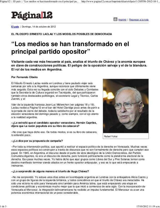 """Página/12 :: El país :: """"Los medios se han transformado en el principal pa...   http://www.pagina12.com.ar/imprimir/diario..."""