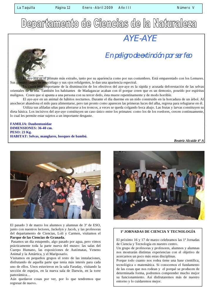 La Taquilla                Página 12          Enero -Abril 2009         Año III                                  Número V ...