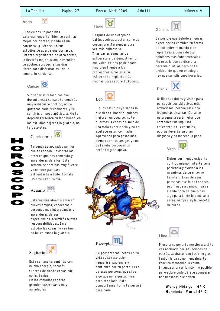 La Taquilla           Página 27         Enero –Abril 2009         Año III                     Número V   Aries            ...