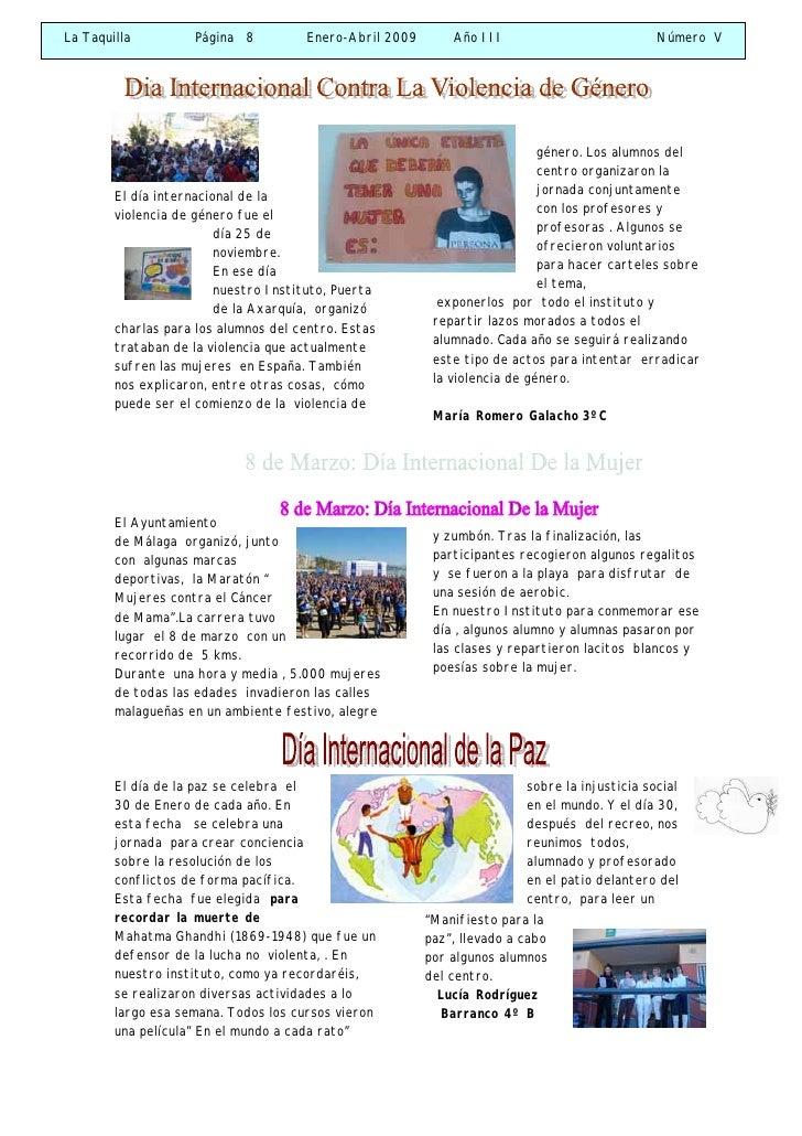 La Taquilla         Página 8          Enero-Abril 2009       Año III                           Número V                   ...