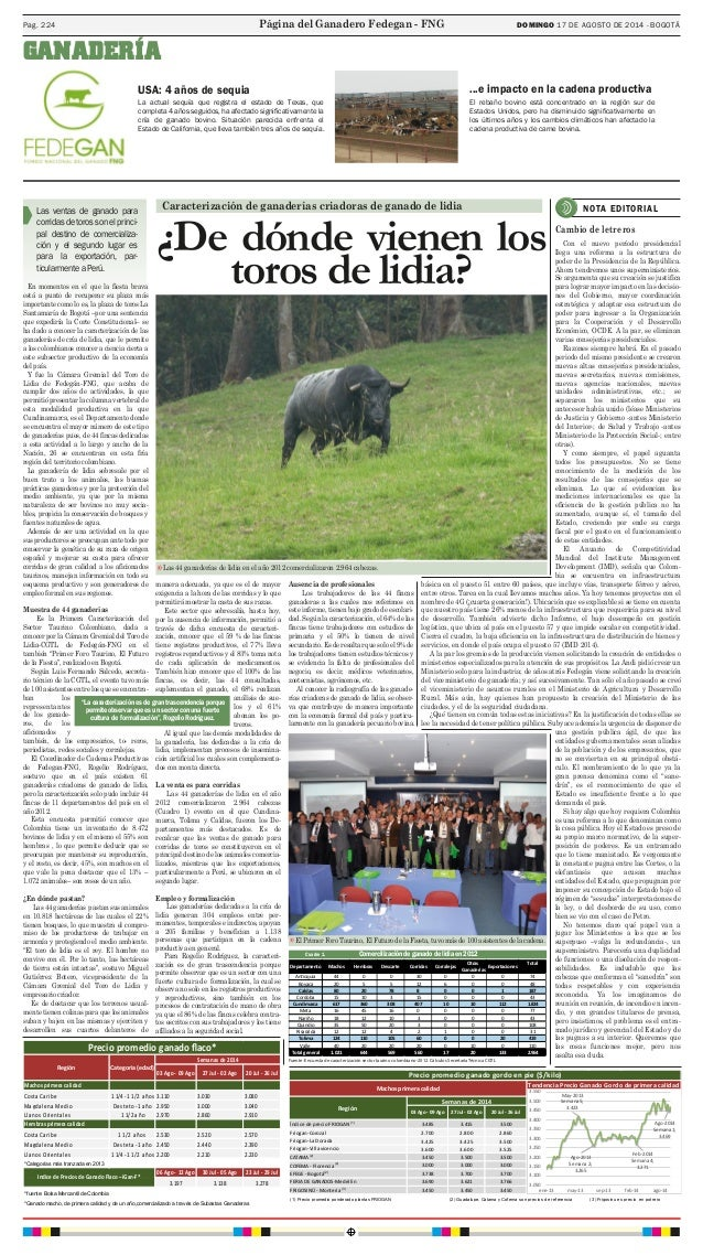 Pag. 224 DOMINGO 17 DE AGOSTO DE 2014 - BOGOTÁ  USA: 4 años de sequia  Las ventas de ganado para  corridas de toros son el...
