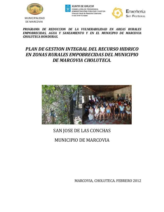 MUNICIPALIDAD DE MARCOVIAPROGRAMA DE REDUCCION DE LA VULNERABILIDAD EN AREAS RURALESEMPOBRECIDAS, AGUA Y SANEAMIENTO Y EN ...