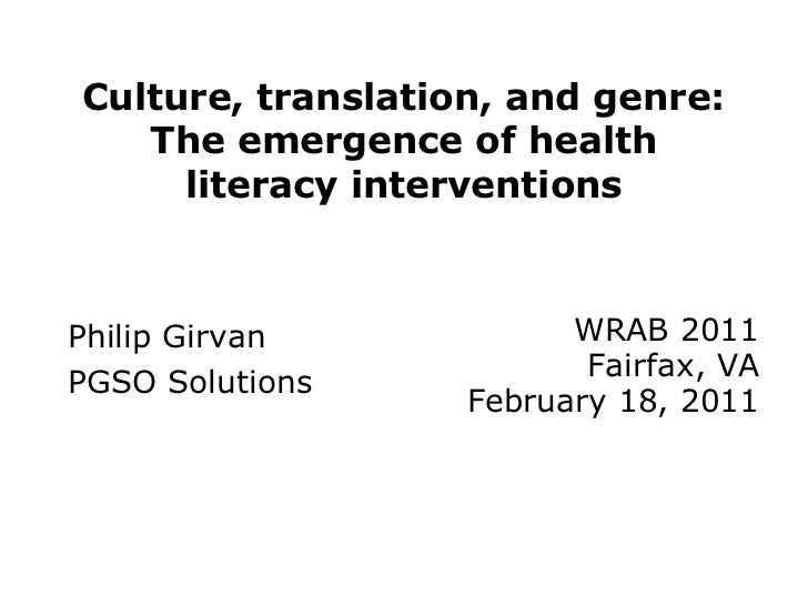Culture, translation, and genre: The emergence of health literacy interventions
