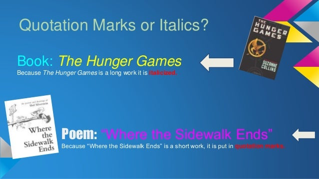 films in essays italics