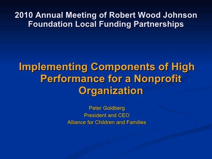 What It Takes to Sustain High Performance in a Nonprofit Agency