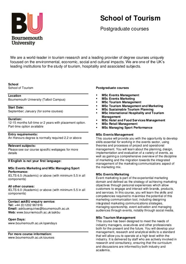 School of Tourism                                                               Postgraduate courses We are a world-leader...