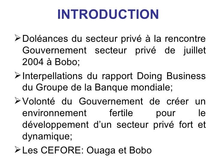 Rencontre gouvernement secteur prive burkina faso
