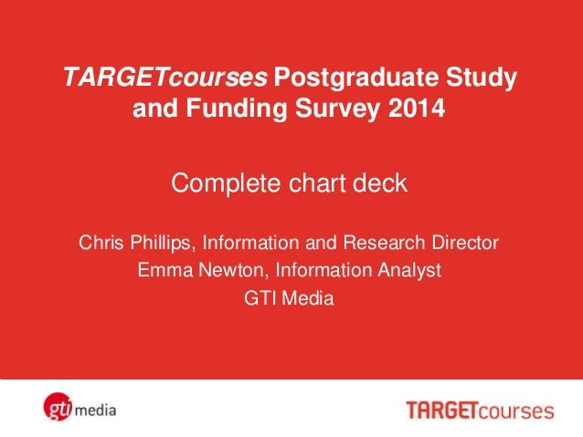 TARGETcourses Postgraduate Study and Funding Survey 2014 Complete chart deck Chris Phillips, Information and Research Dire...