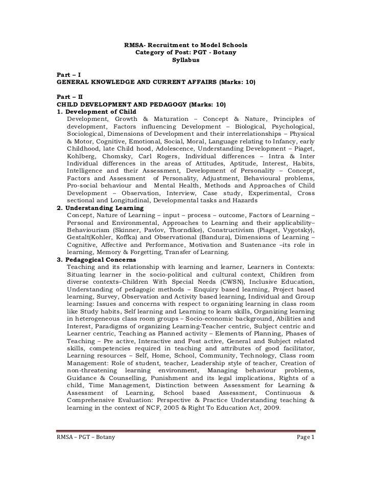 RMSA- Recruitment to Model Schools                        Category of Post: PGT - Botany                                  ...