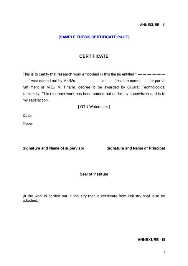 Phd thesis certificate