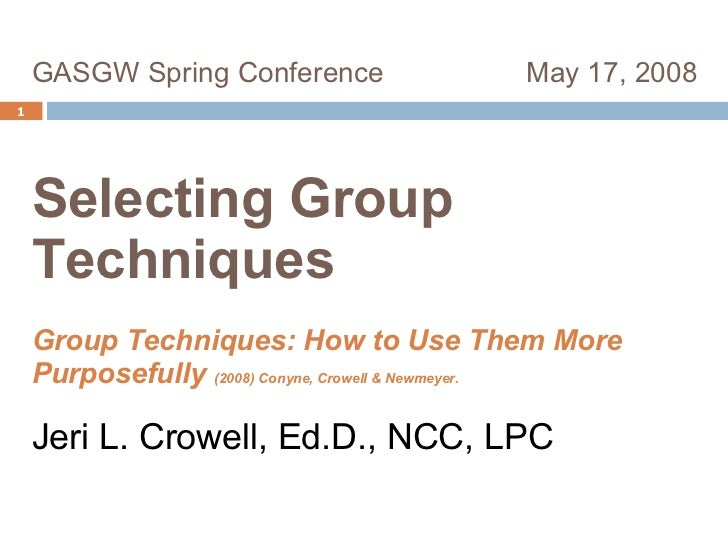 GASGW Spring Conference  May 17, 2008  Selecting Group  Techniques   Group Techniques: How to Use Them More Purposefully  ...