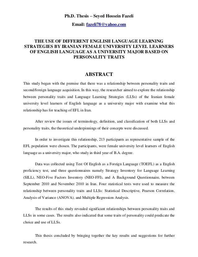 Ph.D. Thesis – Seyed Hossein Fazeli Email: fazeli78@yahoo.com THE USE OF DIFFERENT ENGLISH LANGUAGE LEARNING STRATEGIES BY...