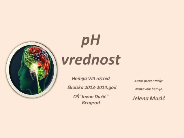 """pH vrednost Hemija VIII razred Školska 2013-2014.god OŠ""""Jovan Dučić"""" Beograd  Autor prezentacije Nastavnik hemije  Jelena ..."""