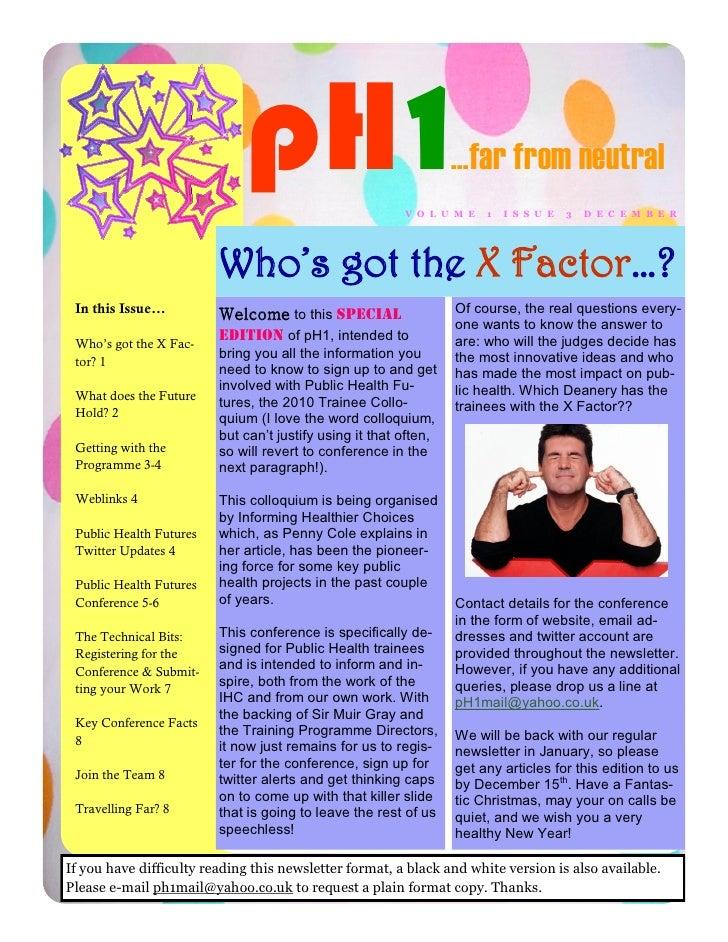 Public Health Futures Newsletter December 2009