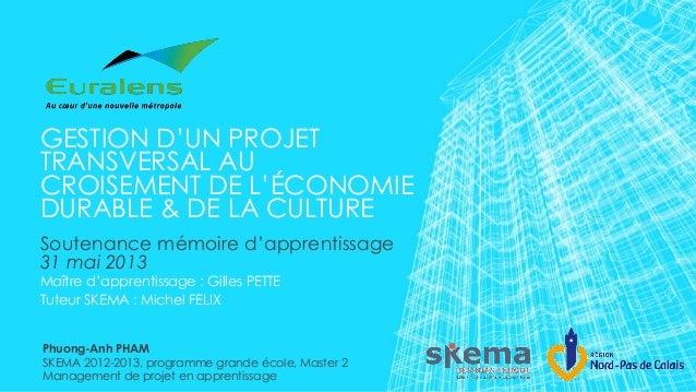 GESTION D'UN PROJETTRANSVERSAL AUCROISEMENT DE L'ÉCONOMIEDURABLE & DE LA CULTURESoutenance mémoire d'apprentissage31 mai 2...