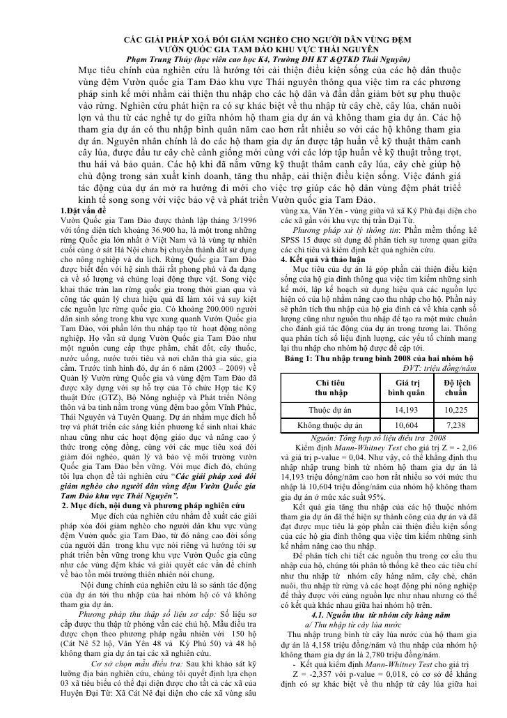 CÁC GIẢI PHÁP XOÁ ĐÓI GIẢM NGHÈO CHO NGƯỜI DÂN VÙNG ĐỆM                          VƯỜN QUỐC GIA TAM ĐẢO KHU VỰC THÁI NGUYÊN...