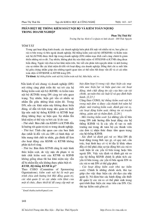 Phan Thị Thái Hà Tạp chí KHOA HỌC & CÔNG NGHỆ 70(8): 143 - 147 143 Số hóa bởi Trung tâm Học liệu – Đại học Thái Nguyên htt...