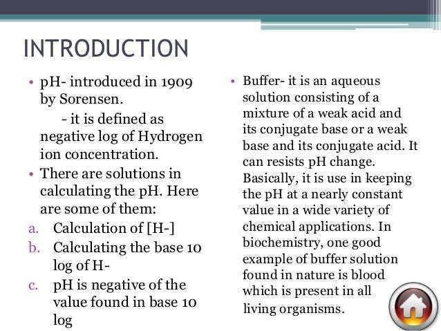 Ph and buffer solutions lab report