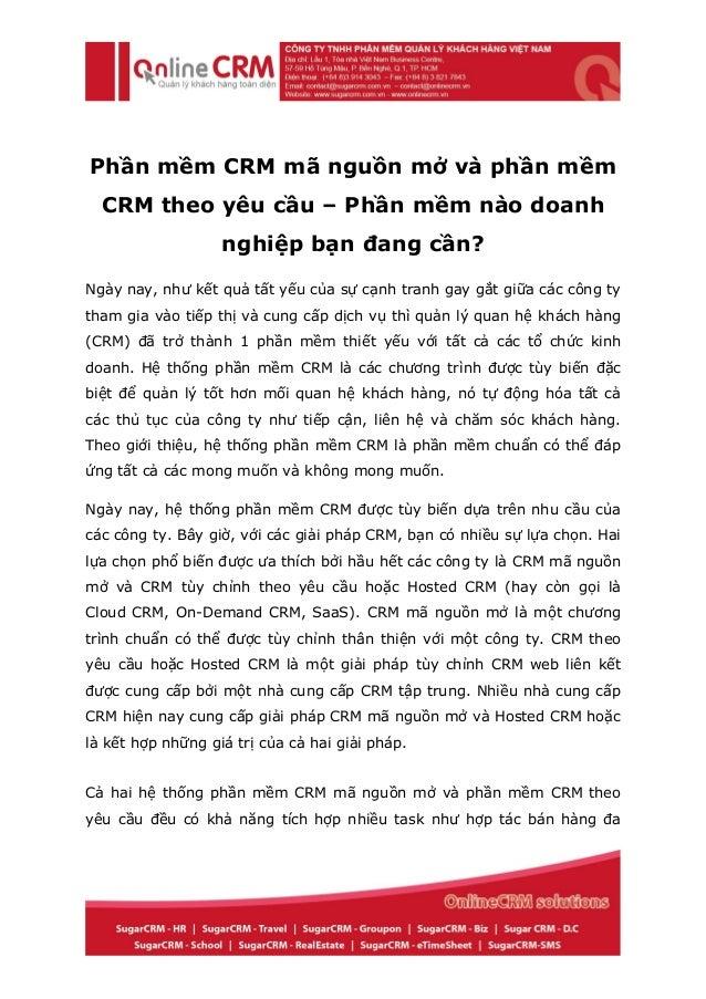 Phần mềm CRM mã nguồn mở và phần mềm CRM theo yêu cầu – Phần mềm nào doanh nghiệp bạn đang cần?