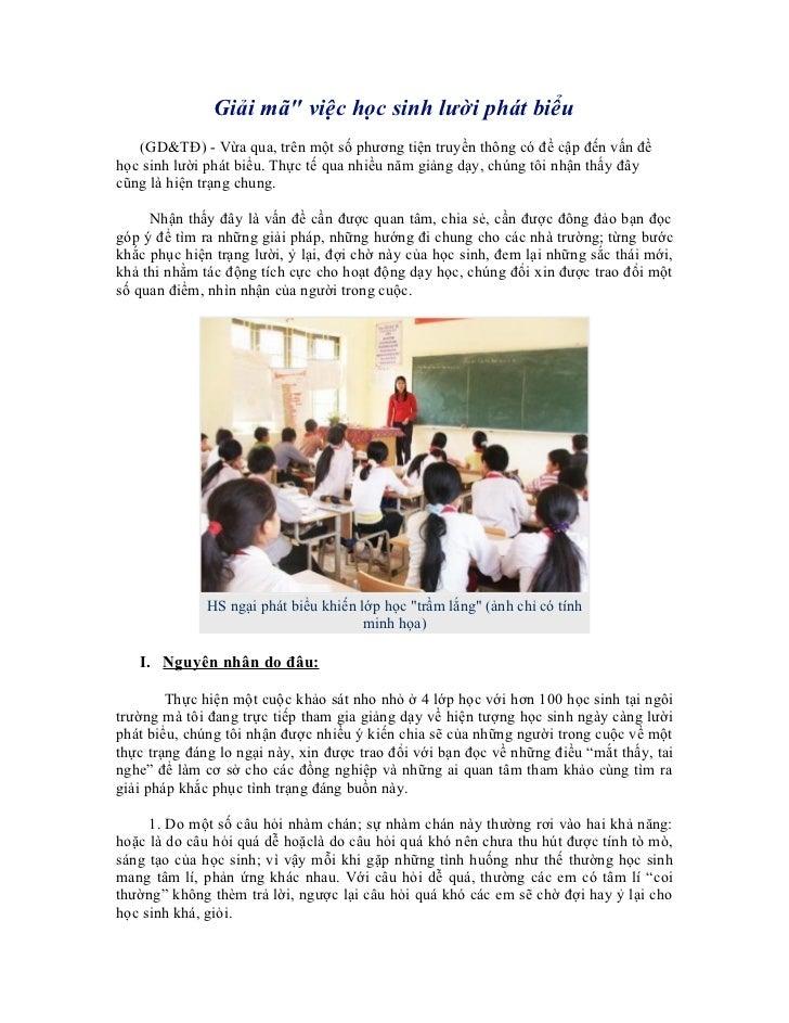 """Giải mã"""" việc học sinh lười phát biểu   (GD&TĐ) - Vừa qua, trên một số phương tiện truyền thông có đề cập đến vấn đềhọc si..."""