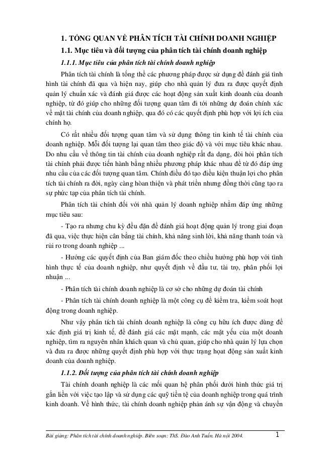 Bài giảng: Phân tích tài chính doanh nghiệp. Biên soạn: ThS. Đào Anh Tuấn. Hà nội 2004. 11. TỔNG QUAN VỀ PHÂN TÍCH TÀI CHÍ...