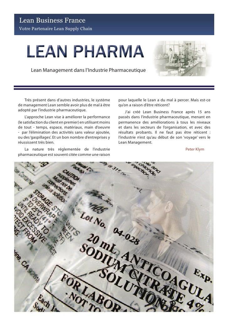 Lean Business France Votre Partenaire Lean Supply Chain             Lean Management dans l'Industrie Pharmaceutique       ...